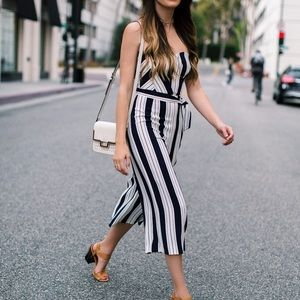 H&M striped strapless jumpsuit